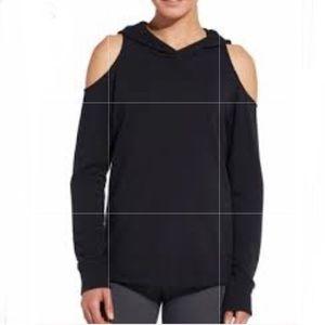 Calia Black Cold Shoulder Hooded Sweater Size S